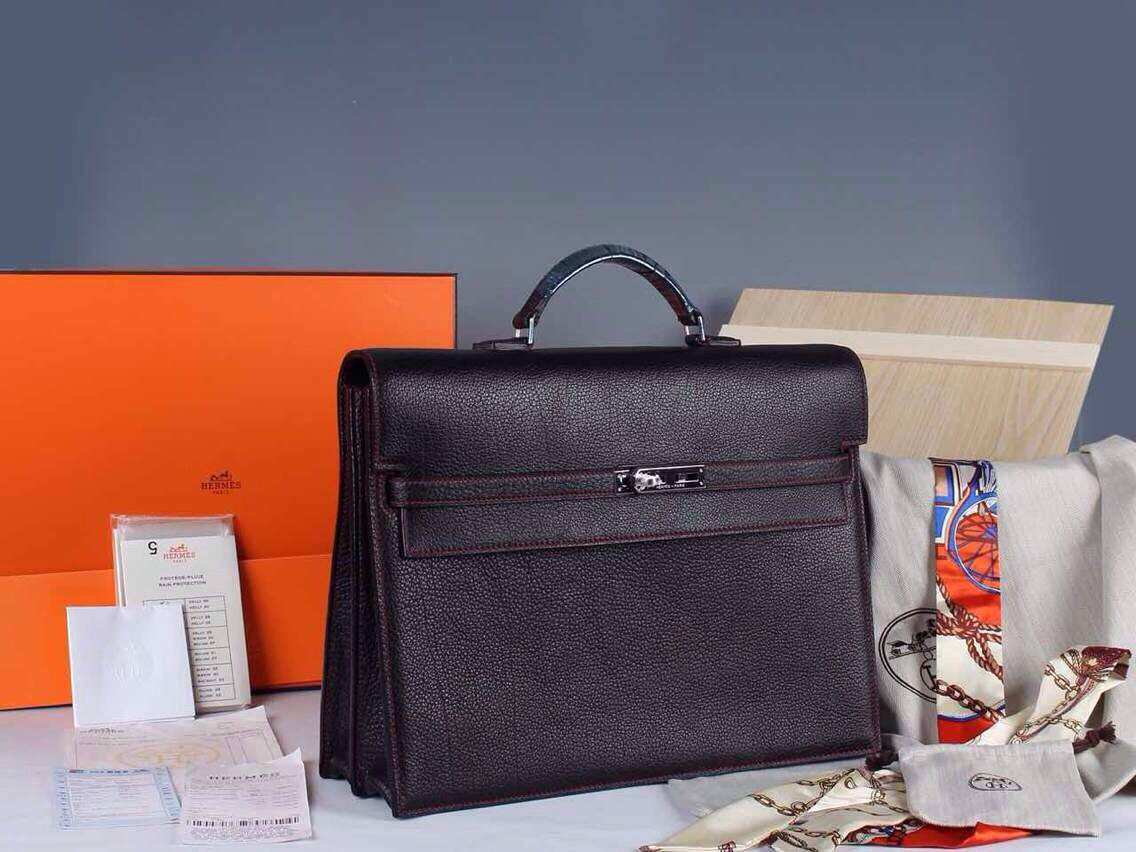 Hermes Kelly Depeche 38 Briefcase Black W Red Stitch Clemence Handstitched Silve