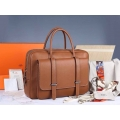 Hermes Steve 38 Briefcase Brown Clemence Leather Handstitched Silver hw