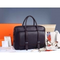 Hermes Steve 38 Briefcase Black W Red Stitch Leather Handstitched Silver hw