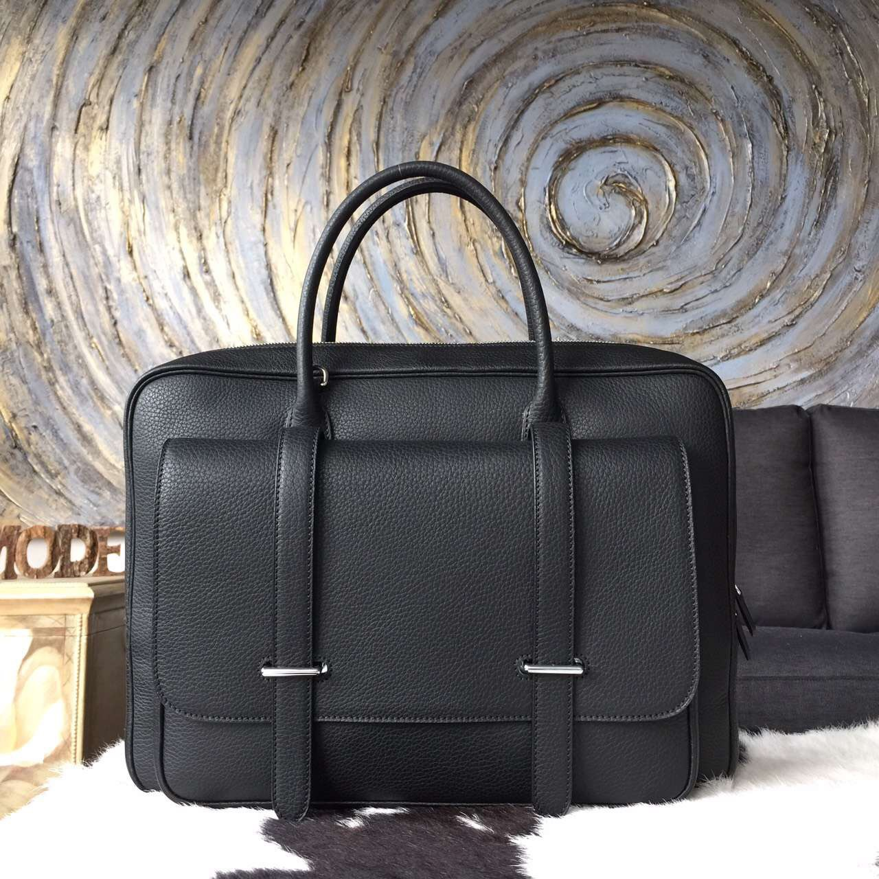 Hermes Steve 38 Briefcase Black Clemence Leather Handstitched Silver hw
