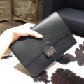 Hermes Jet Pochette Clutch 24 Black Epsom Leather Handstitched Silver hw