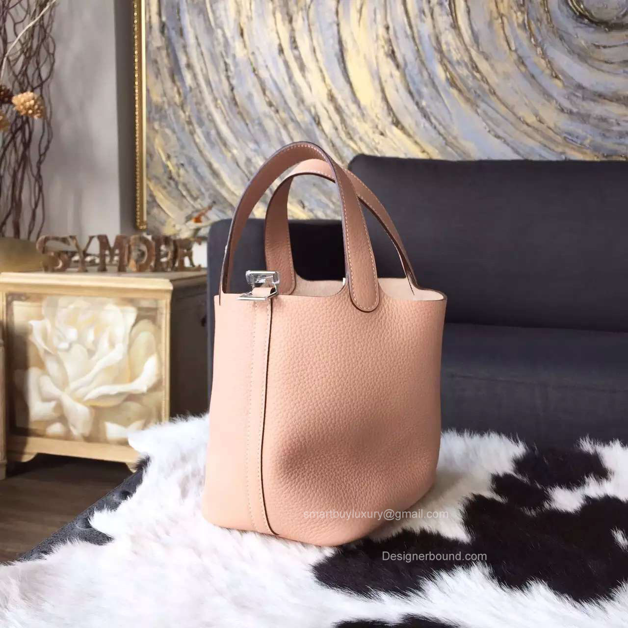 66861488f181 Hermes Picotin Lock 18 Bag Nude Pink Taurillon Clemence Handstitched