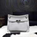 Hermes Jypsiere 34 Large Bag White Taurillon Clemence Handstitched
