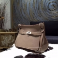 Hermes Jypsiere 34 Large Bag Etoupe CK18 Taurillon Clemence Handstitched