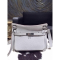 Hermes Jypsiere 28 Bag Pearl Gray CK80 Taurillon Clemence Handstitched
