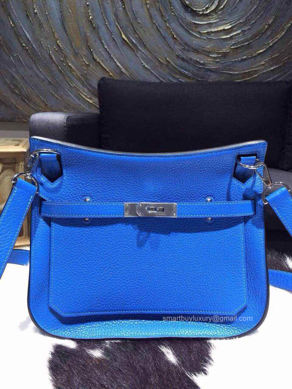 Hermes Jypsiere 28 Bag Bleu Hydra T7 Taurillon Clemence Handstitched