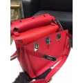 Hermes Jypsiere 28 Bag Rouge Casaque Q5 Taurillon Clemence Handstitched