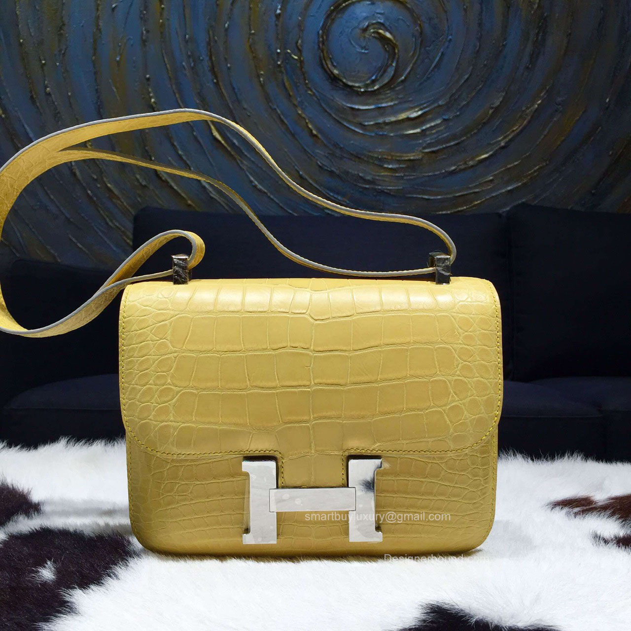 Hermes Constance 23 Bag Mimosa M9 Crocodile Leather Handstitched Silver hw cc35eb5792f83