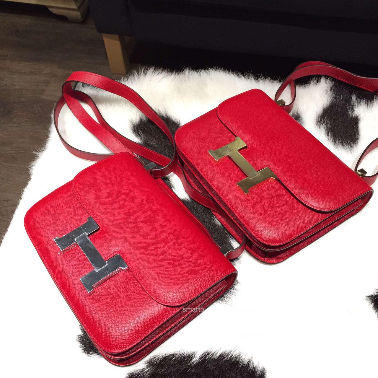 Hermes Constance 23 Bag Rouge Casaque Q5 Epsom Leather Handstitched -