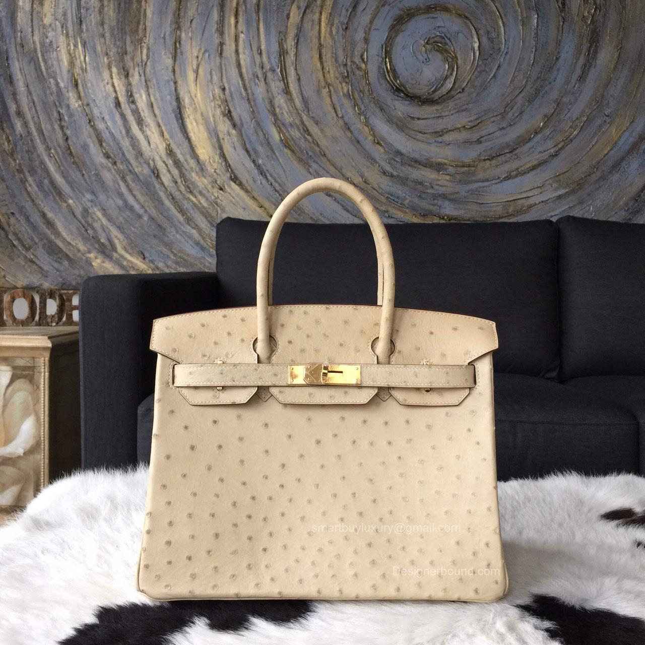 40f9cec53479 Hermes Birkin 30 Bag Parchemin Ostrich Leather Handstitched Gold hw -