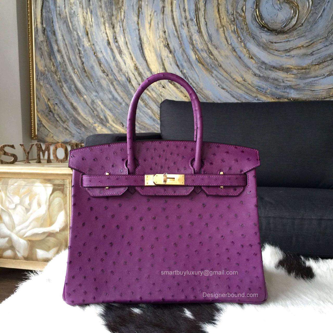 8f2f0483d3b4 Hermes Birkin 35 Bag Violet Ostrich Leather Handstitched Gold hw -
