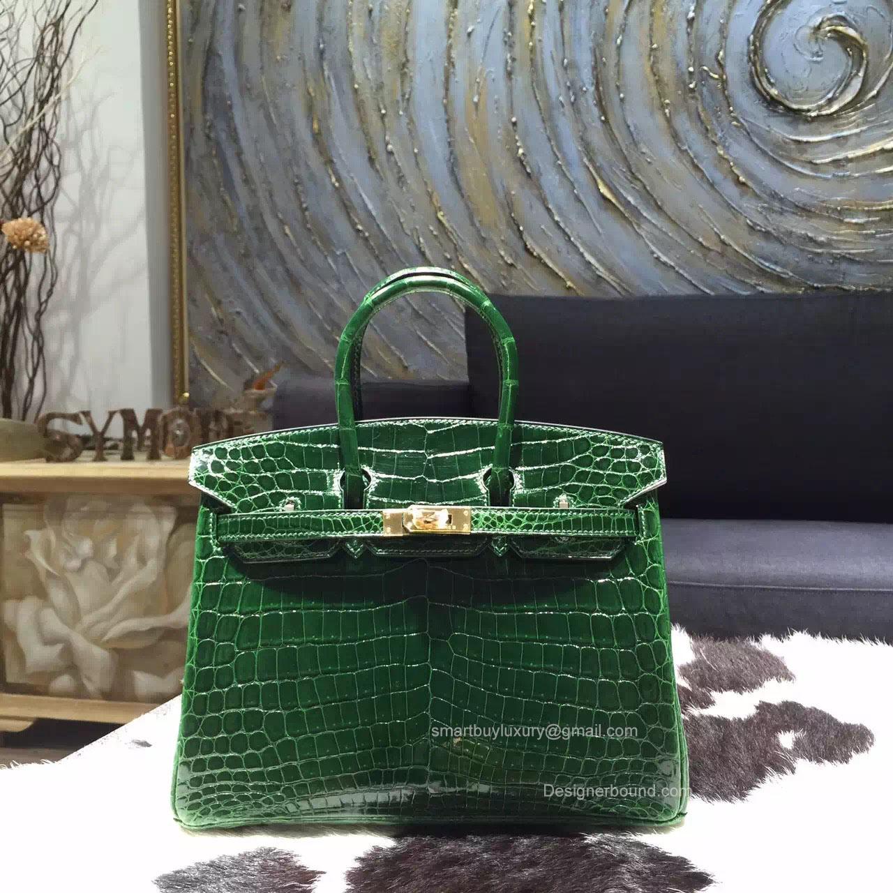 16fdcb28259 Hermes Birkin 25 Bag Vert Fonce Crocodile Leather Handstitched Gold hw ...