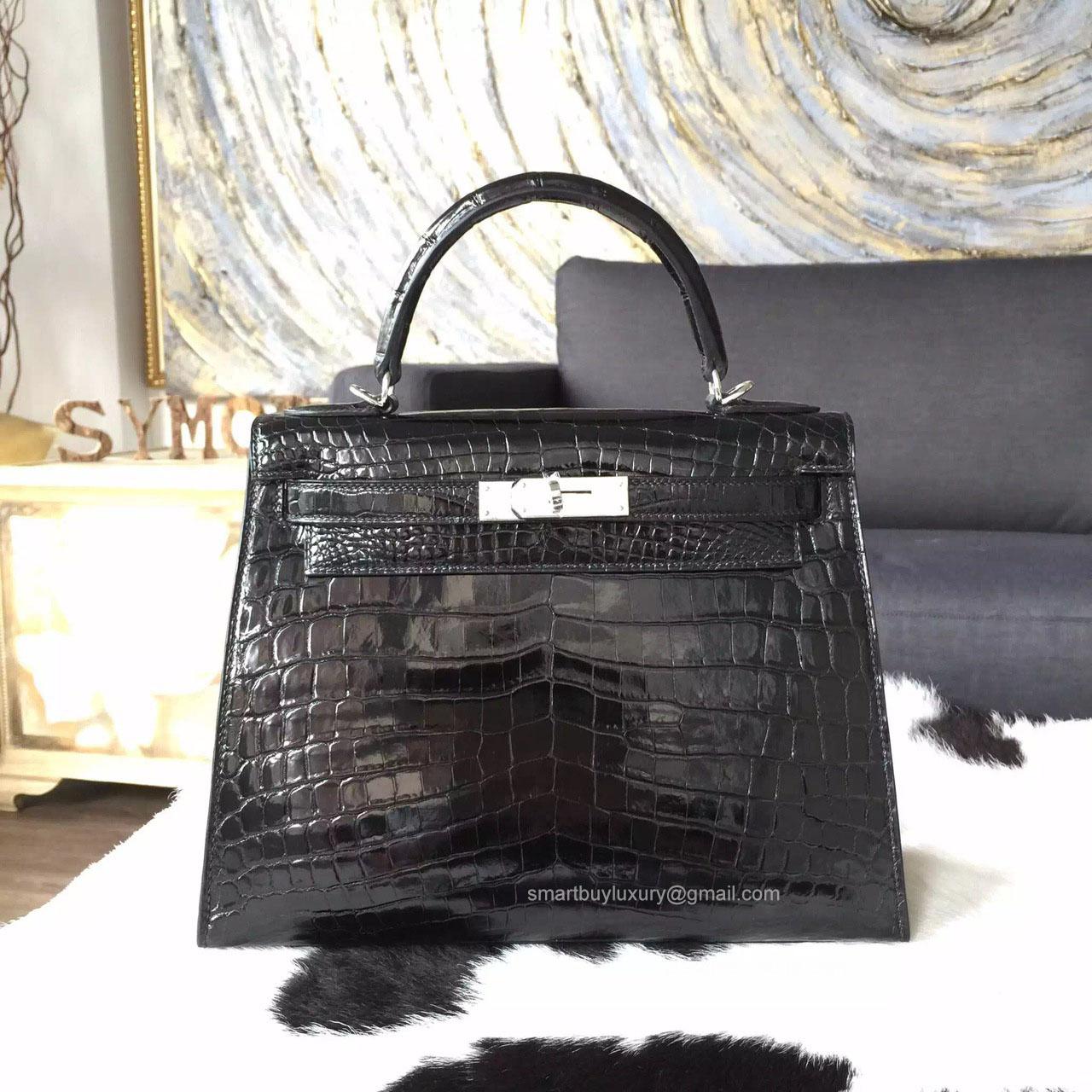 c6f2f8fc6e8b Hermes Kelly 28 Bag Bi-color Black Crocodile Leather Handstitched Silver hw