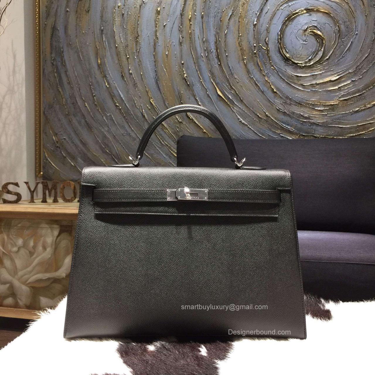 bde8a65f9a86 Hermes Kelly 35 Bag Black Epsom Leather Handstitched Silver hw -