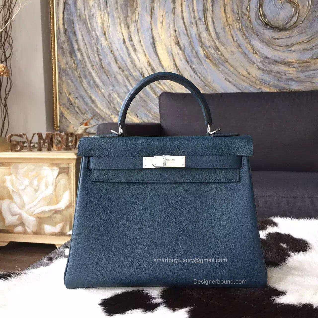 04235409c80e Hermes Kelly 28 Bag Colvert 1p Togo Leather Handstitched Silver hw -