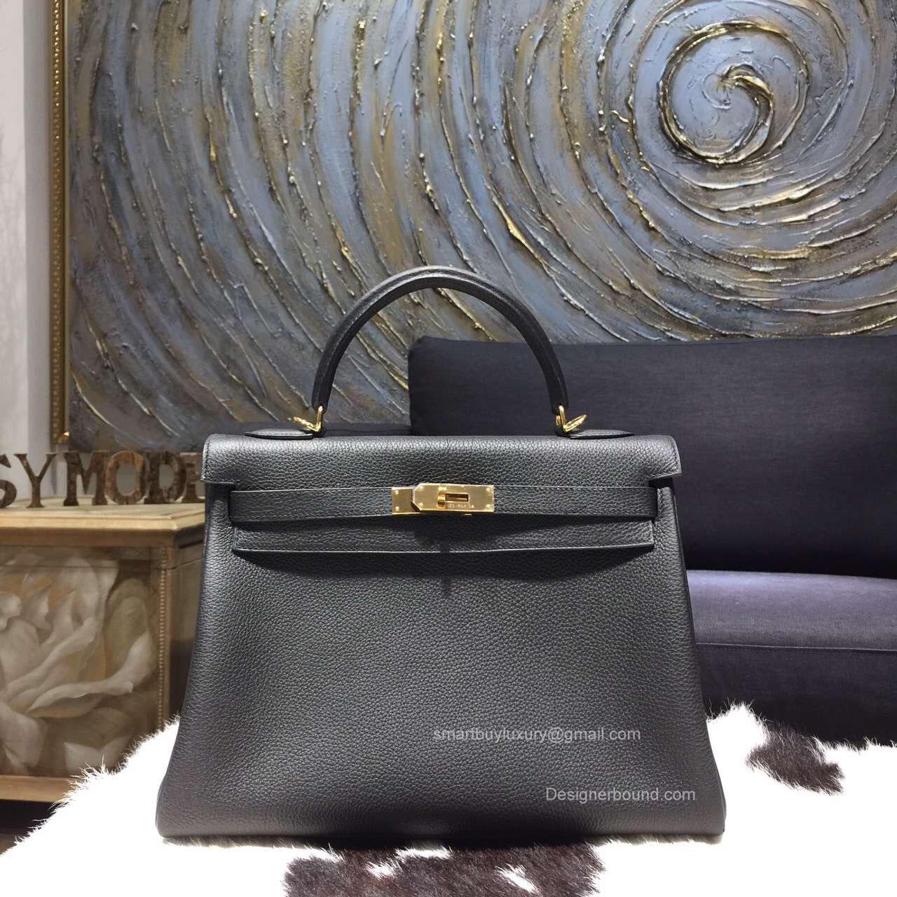 b65e4d4a68f0 Hermes Kelly 28 Bag Black Togo Leather Handstitched Gold hw -