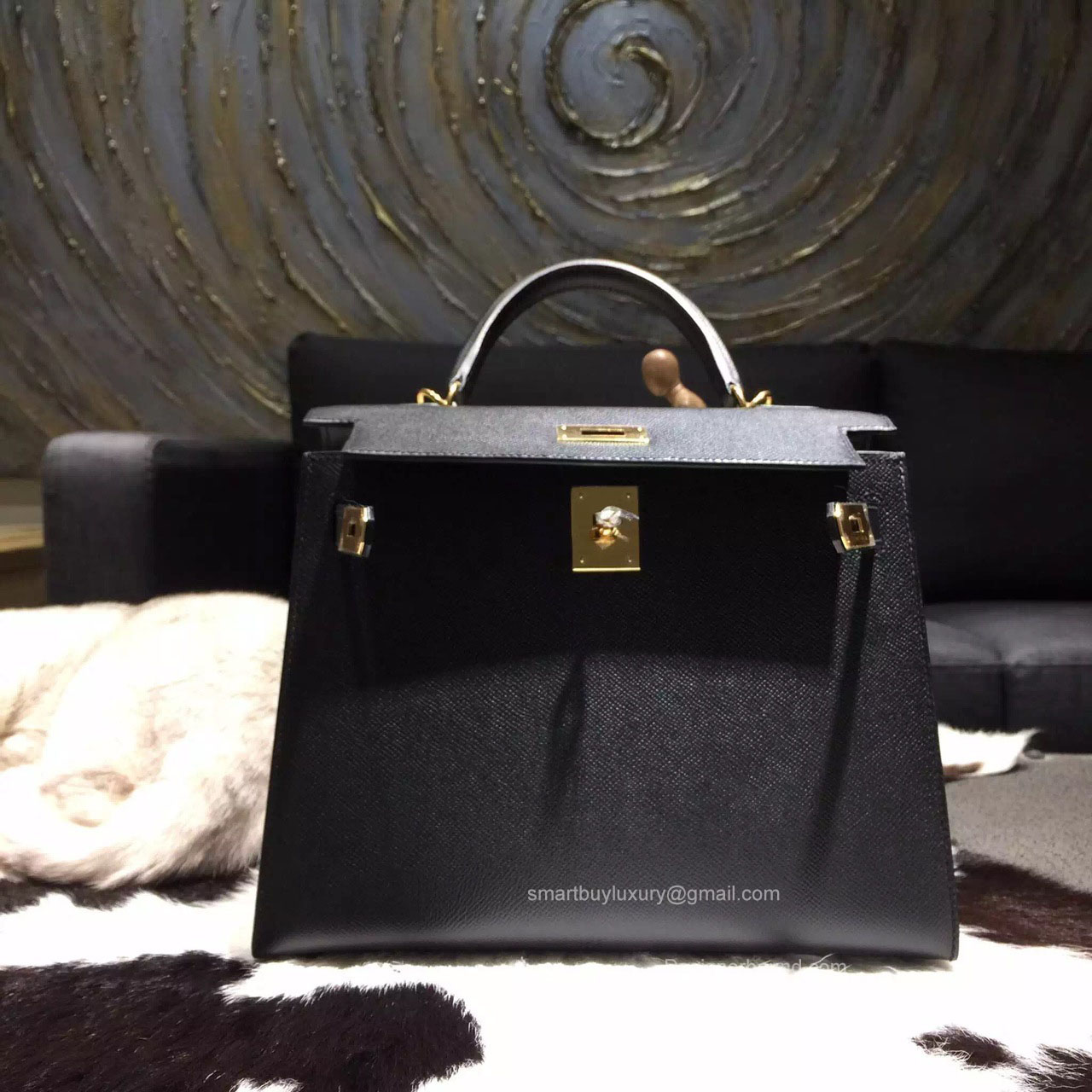 265661de7a8f Hermes Kelly 28 Black Epsom Leather Handstitched Gold hw -