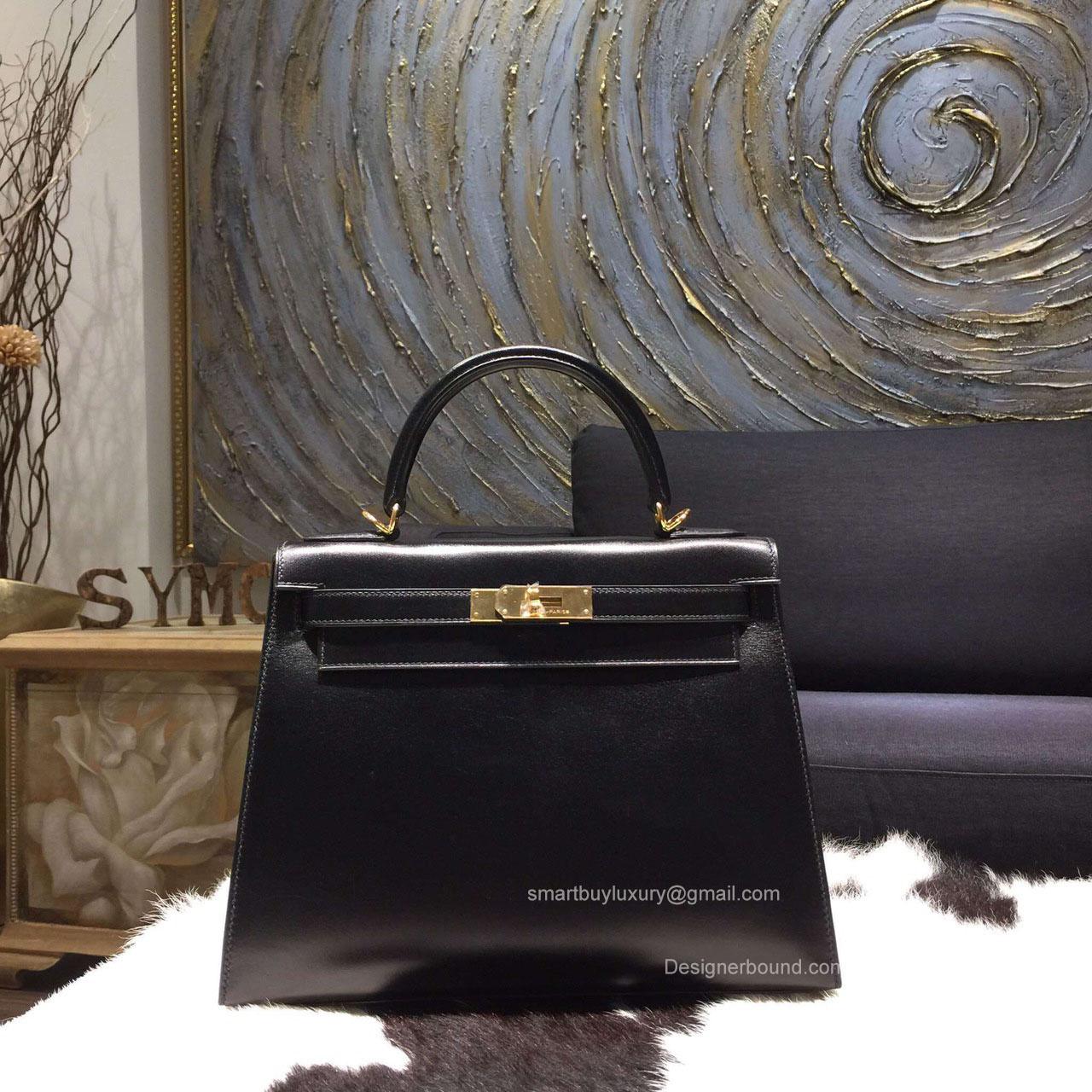 Hermes Kelly 28 Black Box Leather Handstitched Gold hw -