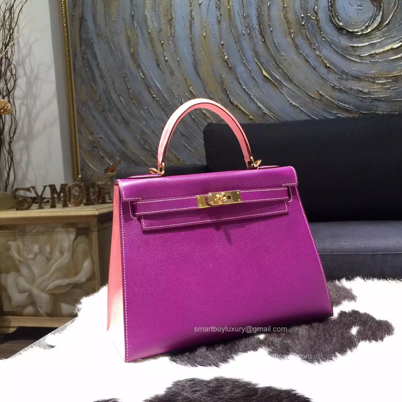 8d14eb81f59 Hermes Kelly 32 Bag Bicolor Anemone p9 Leather Handstitched Gold hw -