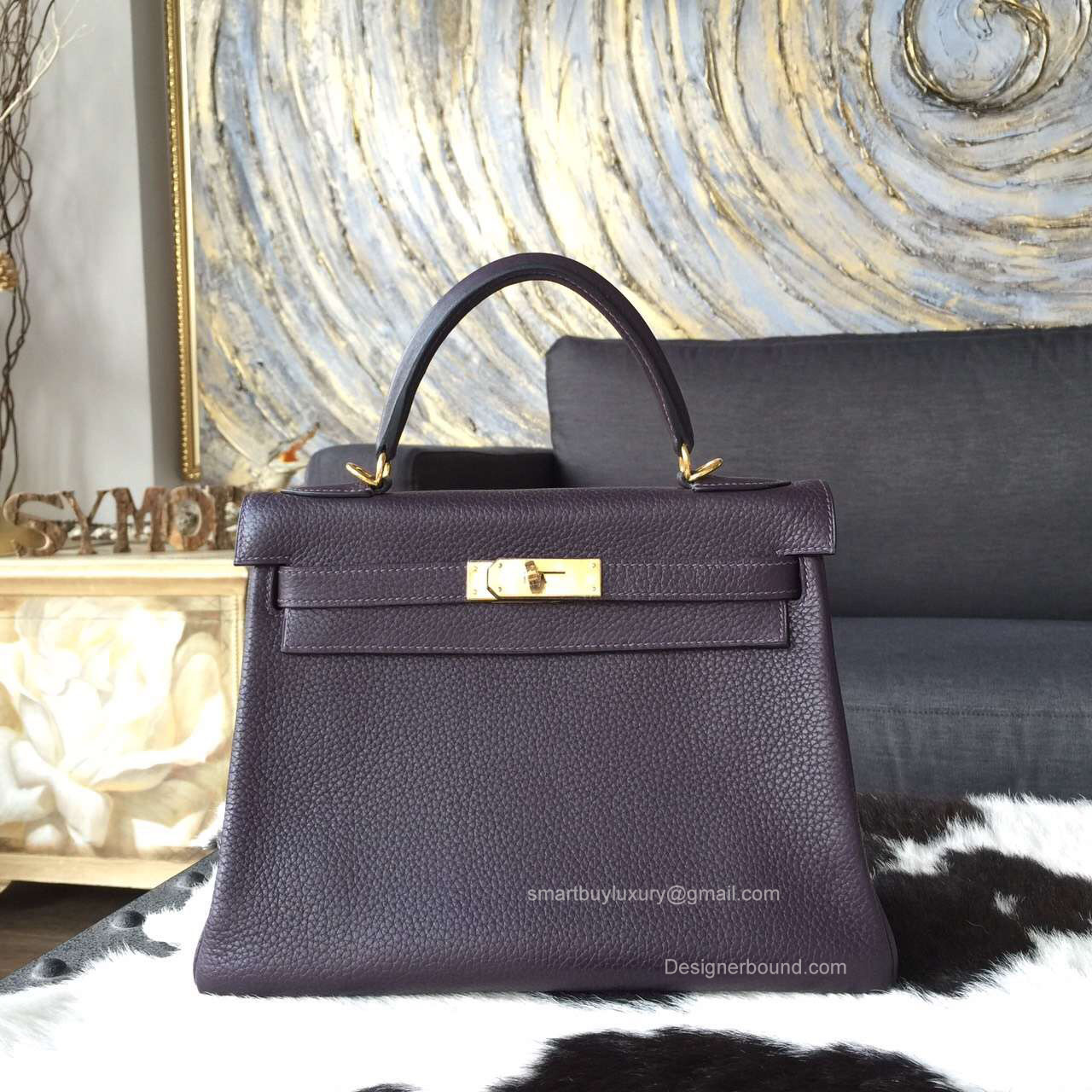 Hermes Kelly 32 Bag Raisin ck59 Togo Leather Handstitched Gold hw -