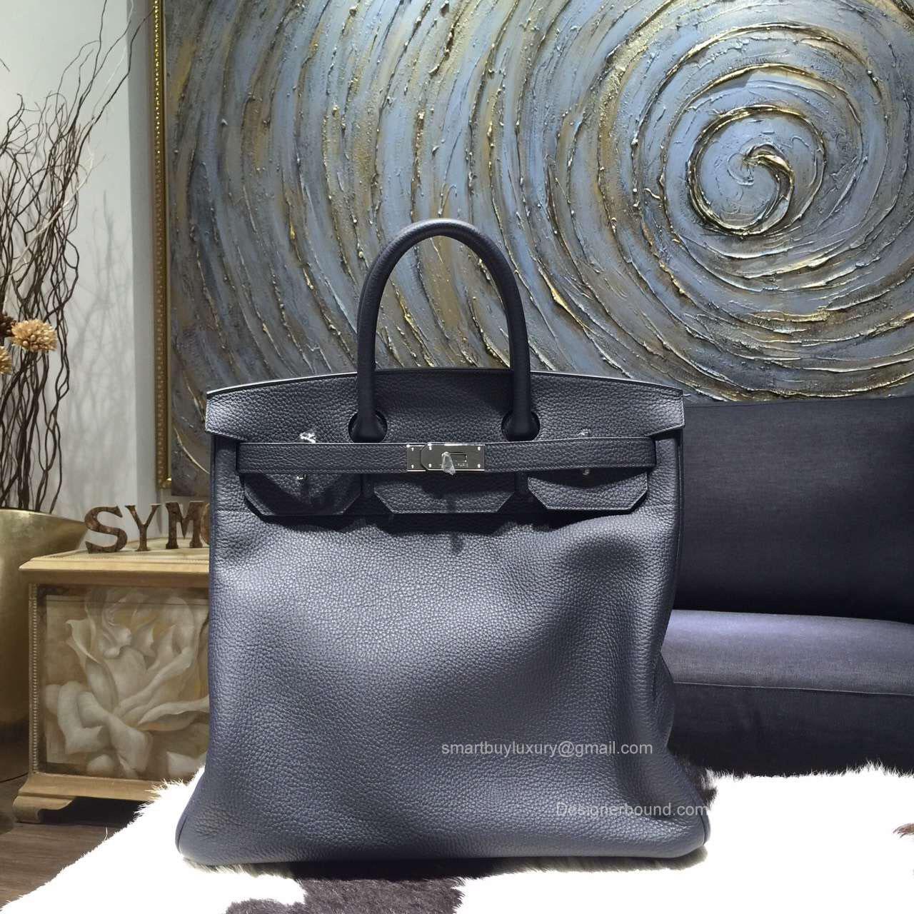 981baa2ec8f Hermes Birkin Hac 40 Bag Blue Indigo ck76 Togo Leather Handstitched Silver  hw
