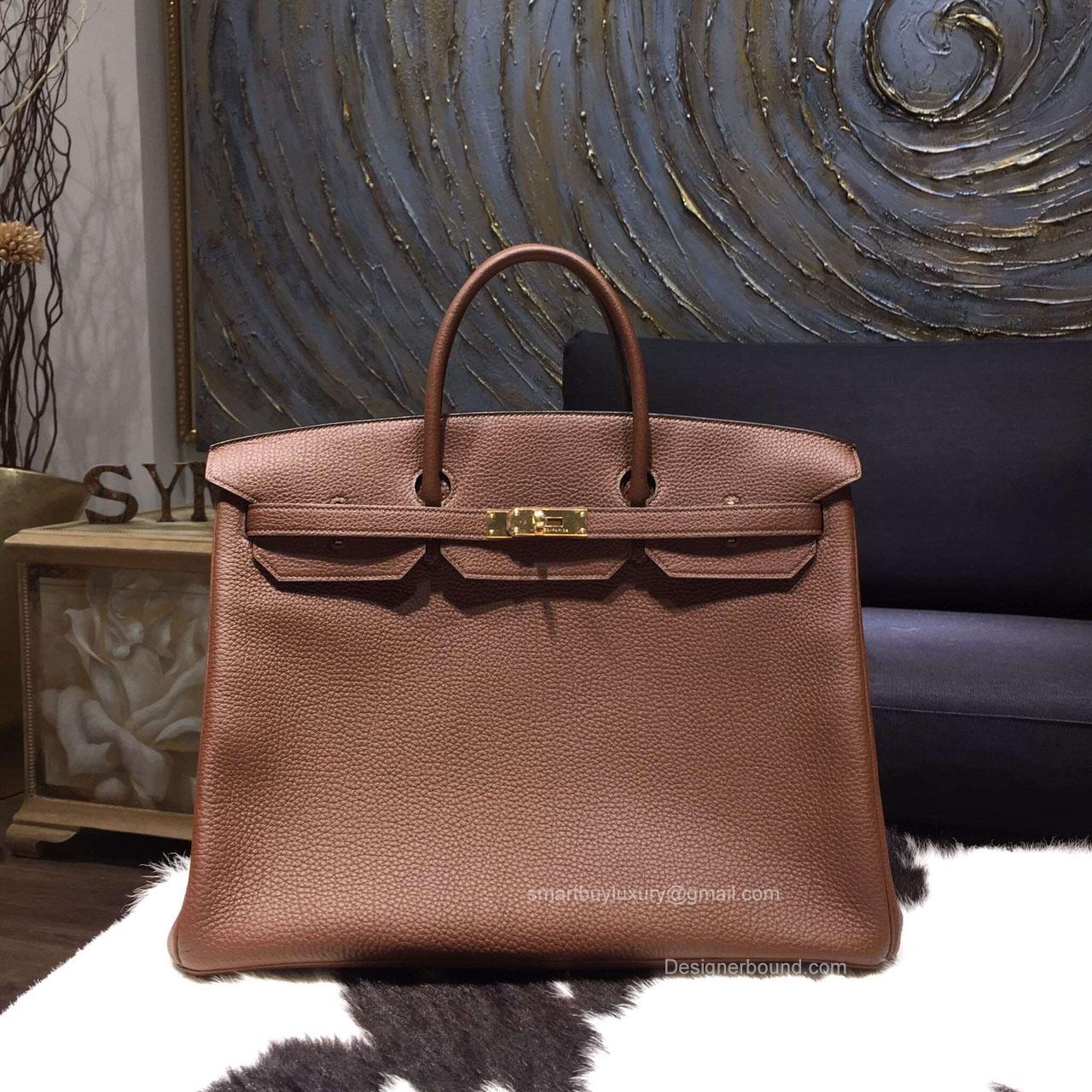 3bbd7e288af Hermes Birkin 40 Bag Marron D Inde CK4I Togo Leather Handstitched Gold hw