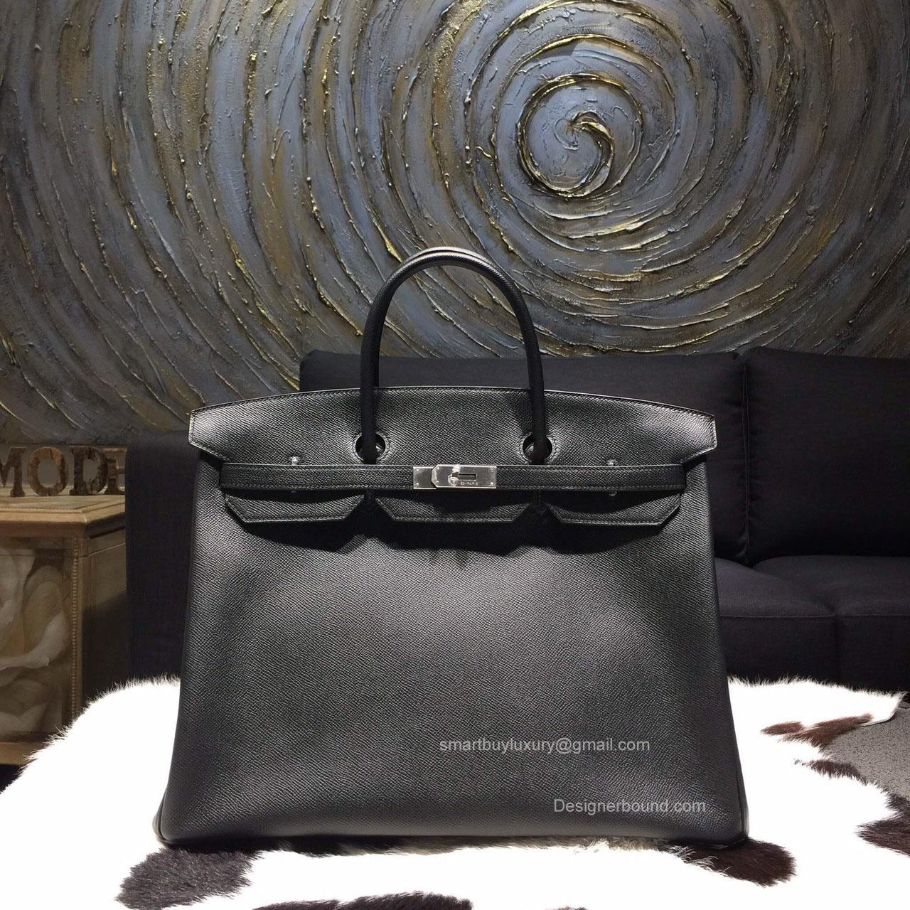 0229e9c1666 birkin bag replica for sale - Hermes Birkin 40 Black Epsom Leather Bag  Handstitched Silver hw