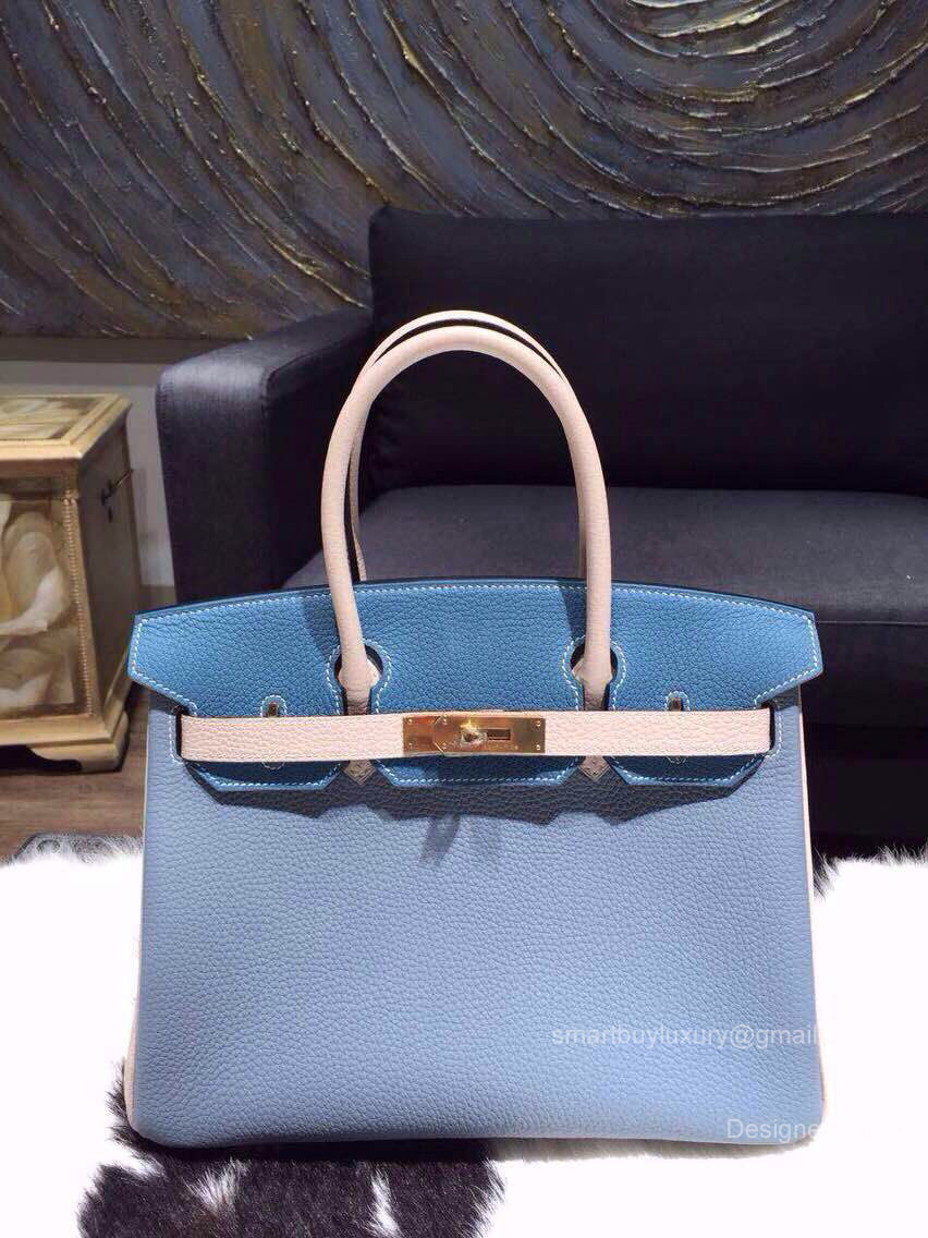 Hermes Birkin 35 Bag Tri-color Blue Epsom Leather Handstitched Gold hw
