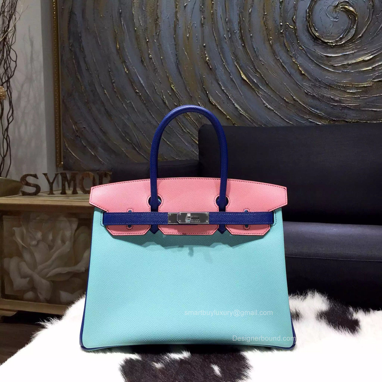 Hermes Birkin 35 Tri-color Blue Atoll Epsom Leather Handstitched Silver hw