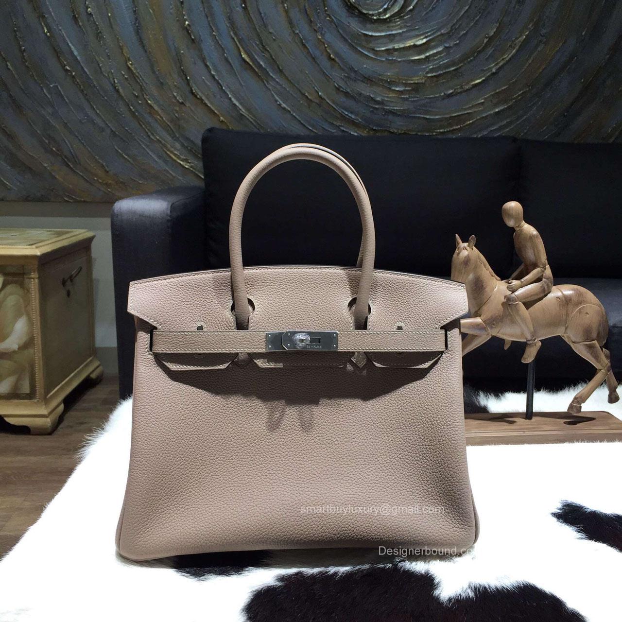 e07b9390b0b1 Hermes Birkin 35 Bag Gris Tourterelle CK81 Togo Leather Handstitched Silver  hw