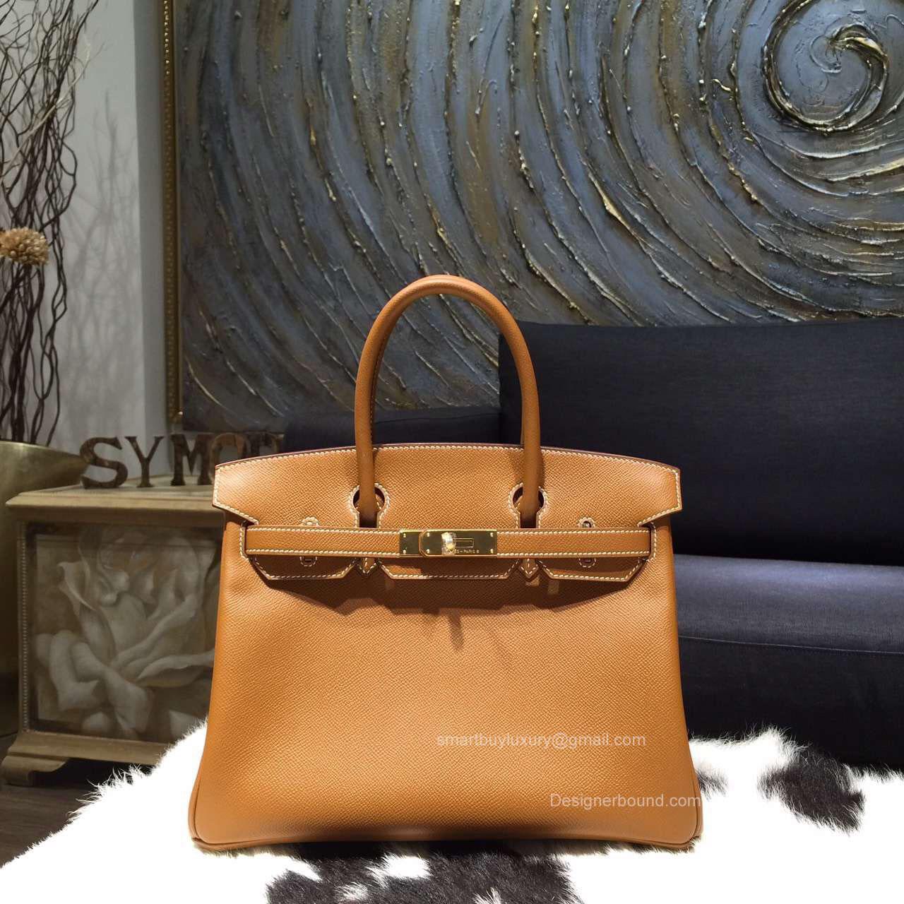 300f2895e7ca Hermes Birkin 35 Bag Gold CK37 Epsom Leather Handstitched Gold hw