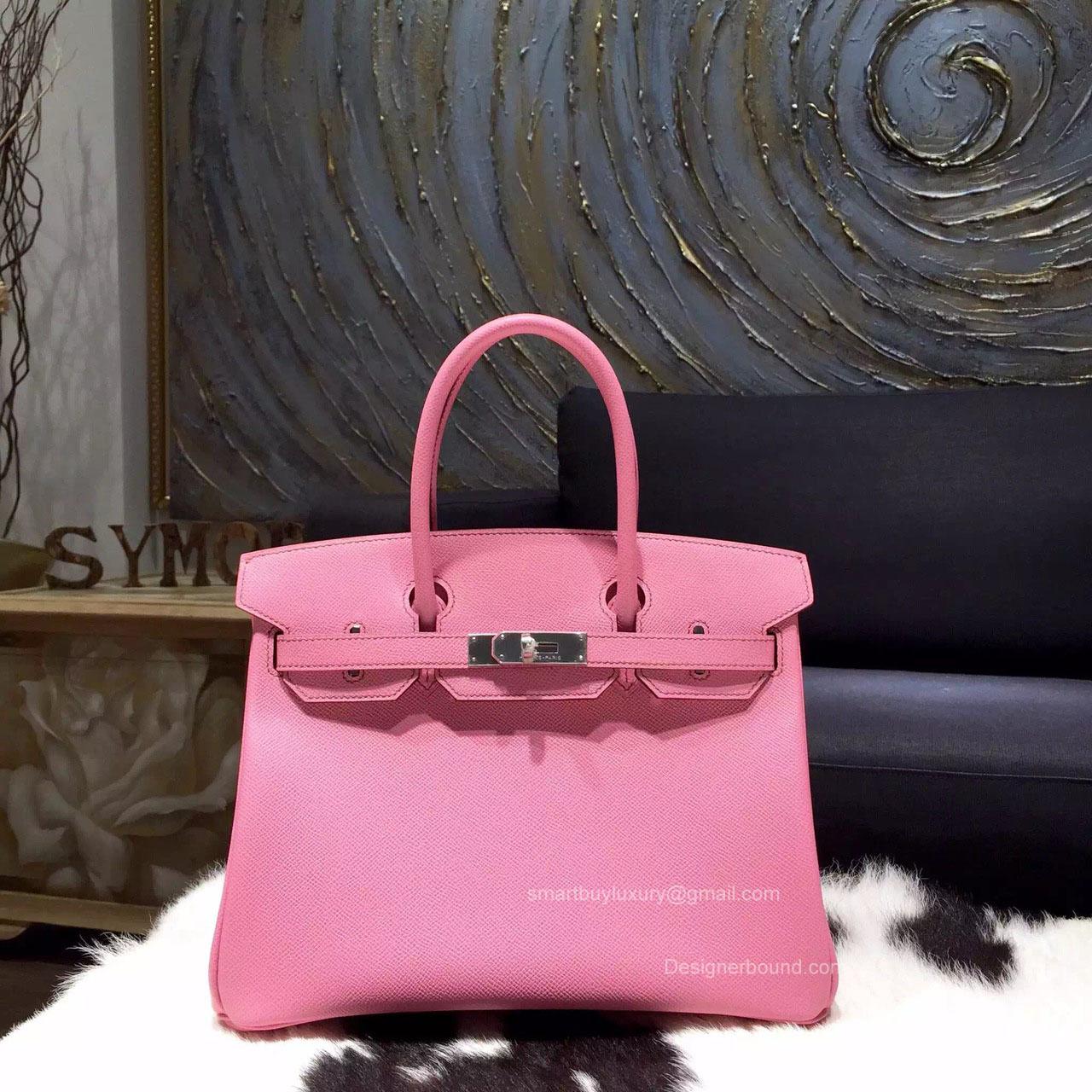 9518c038acc4 Hermes Birkin 35 Bag Pink 5P Epsom Leather Handstitched Silver hw