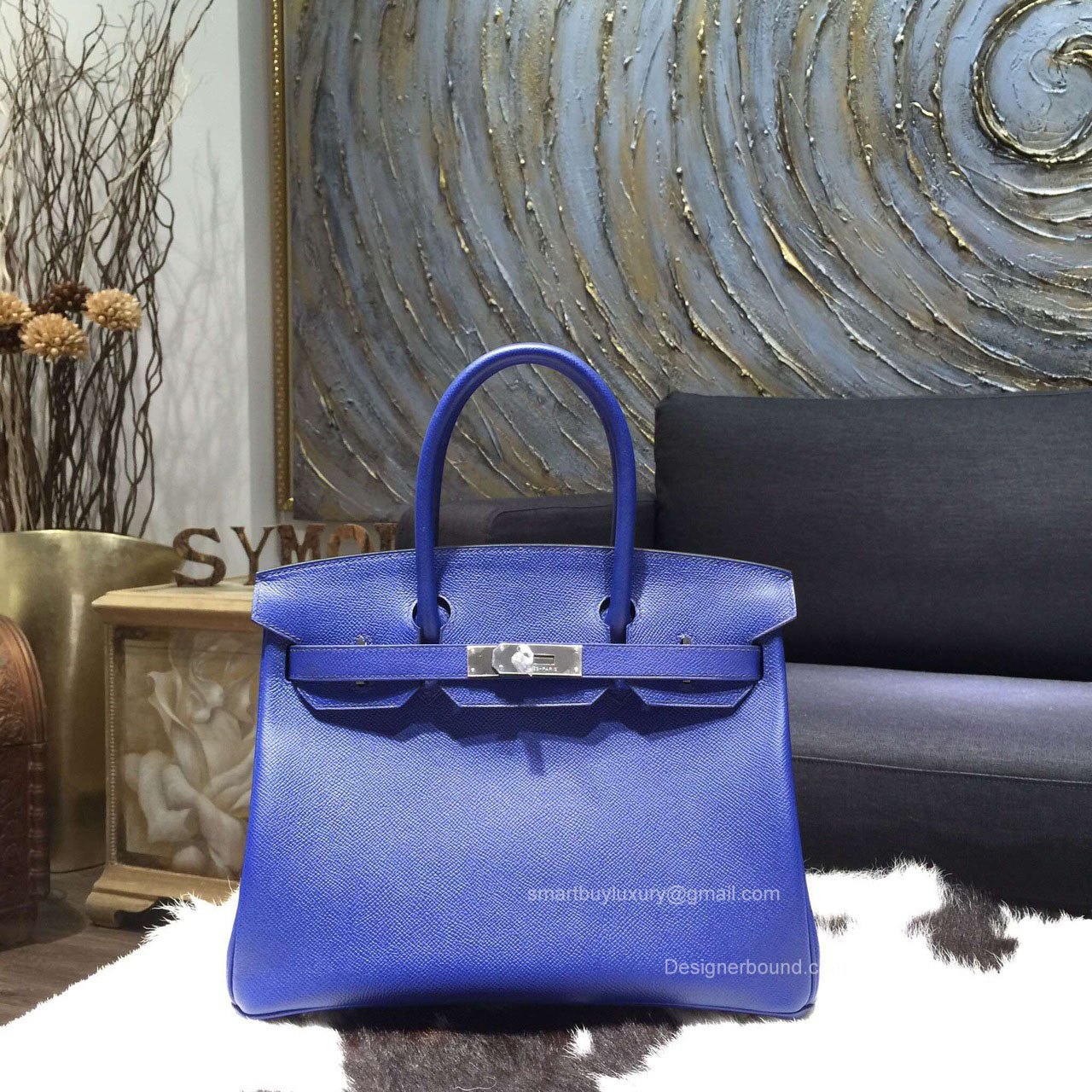 Hermes Birkin 35 Bag Electric Blue Epsom Leather Handstitched Silver hw