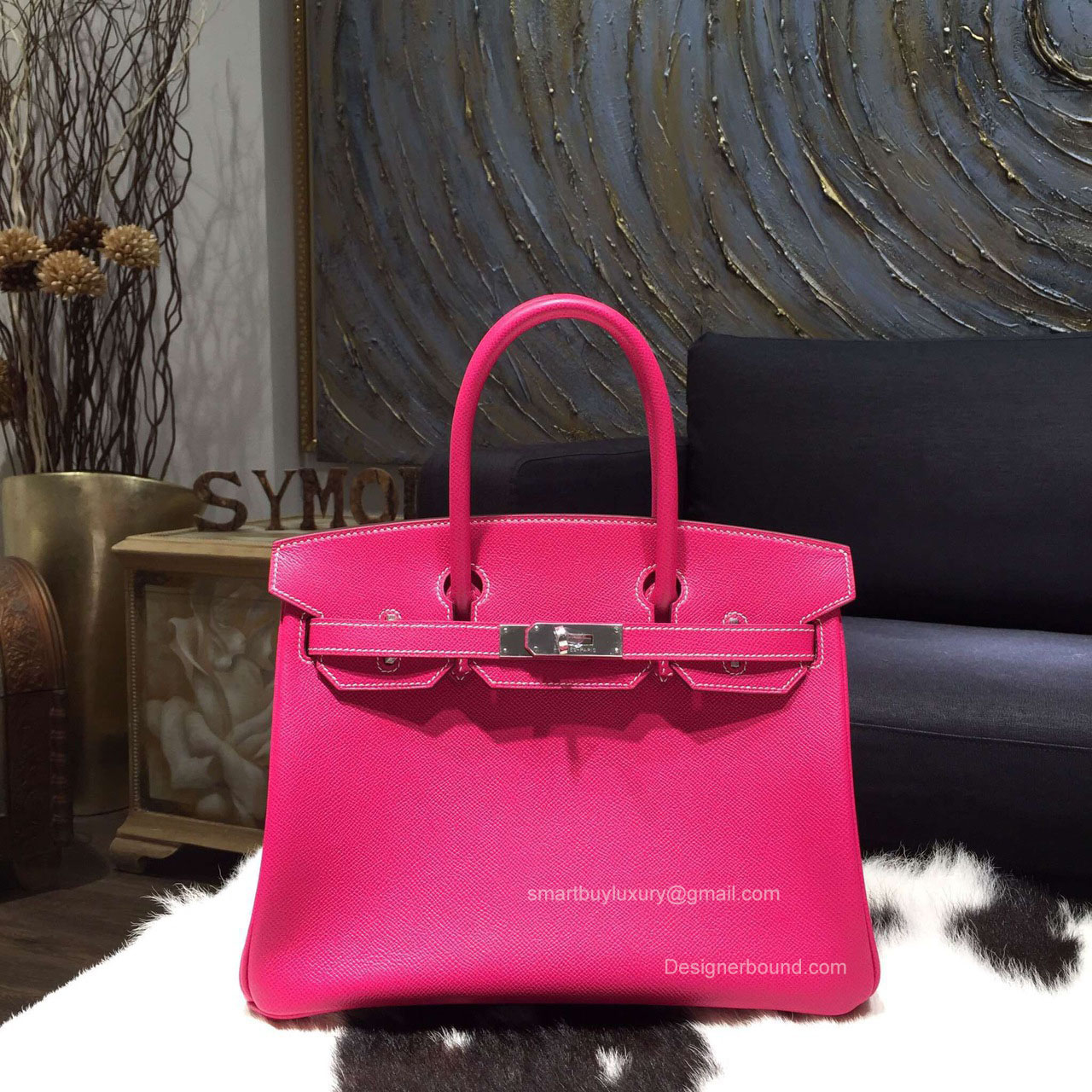 Hermes Birkin 35 Bag Rose Tyrien E5 Epsom Leather Handstitched Silver hw