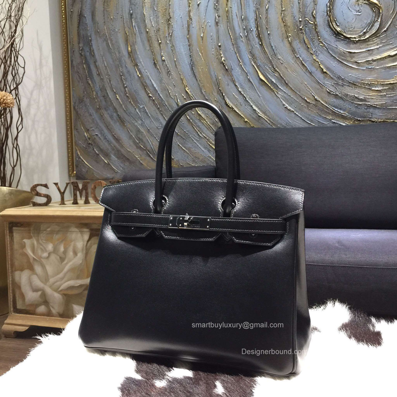 Hermes Birkin 35 Bag Black Box Leather Handstitched Silver hw
