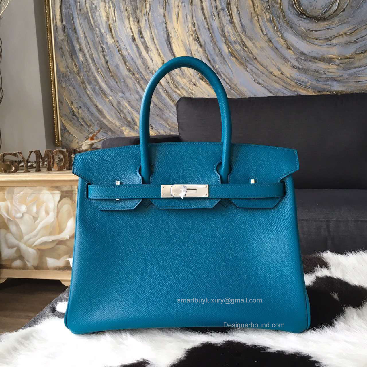 Hermes Birkin 35 Bag Blue Izmir Epsom Leather Handstitched Silver hw