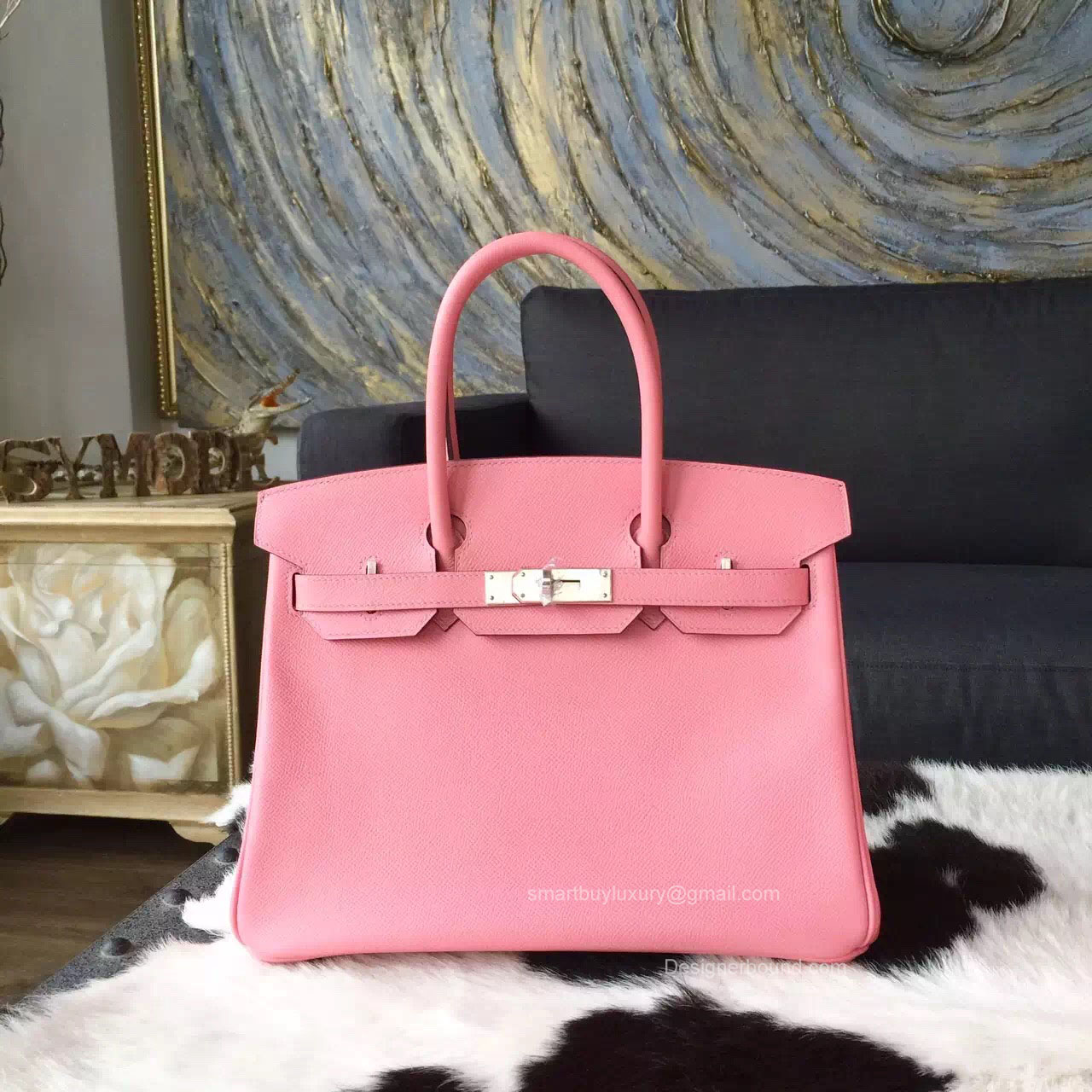 Hermes Birkin 35 Bag Rose Confetti 1q Epsom Leather Handstitched Silver hw