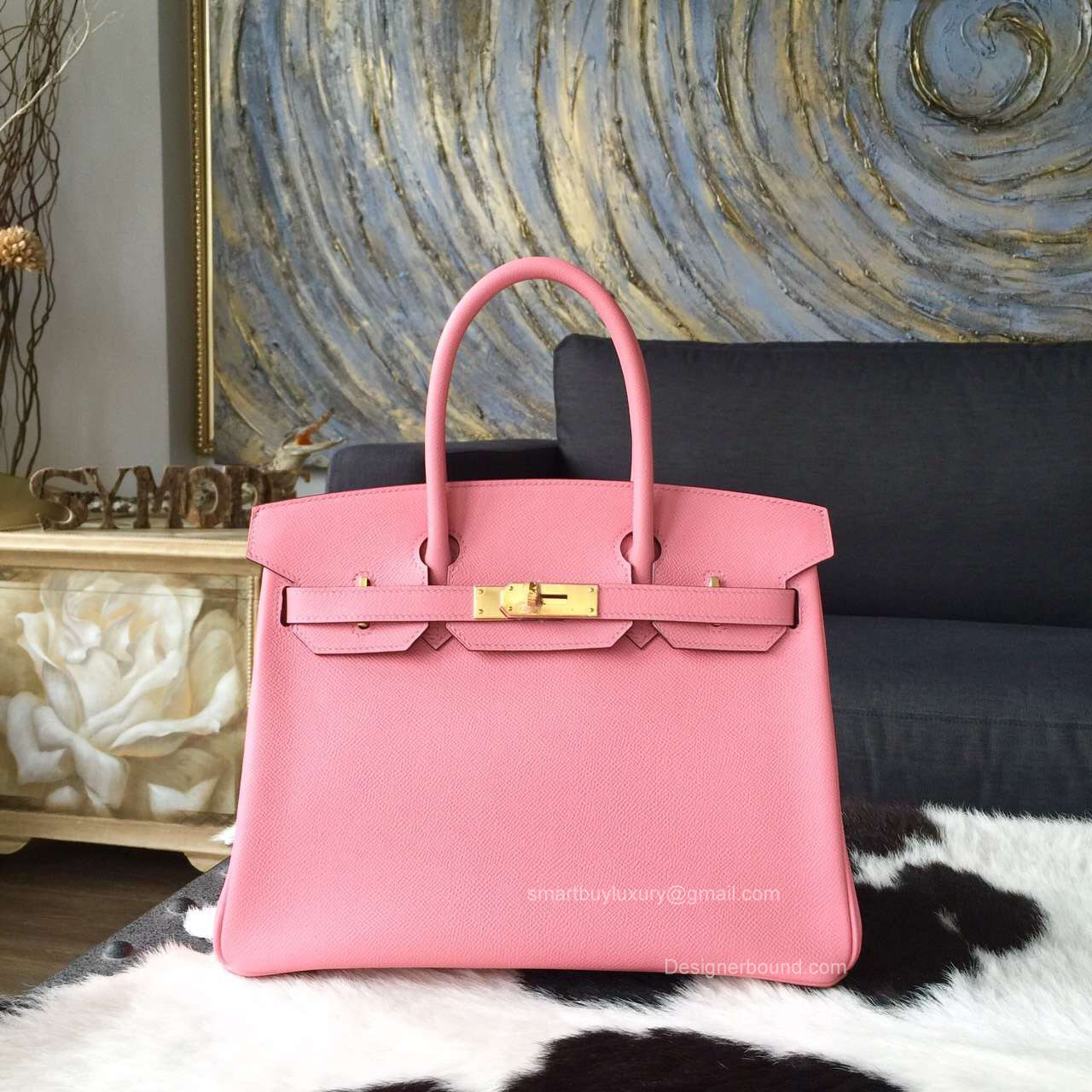 Hermes Birkin 35 Bag Rose Confetti 1q Epsom Leather Handstitched Gold hw