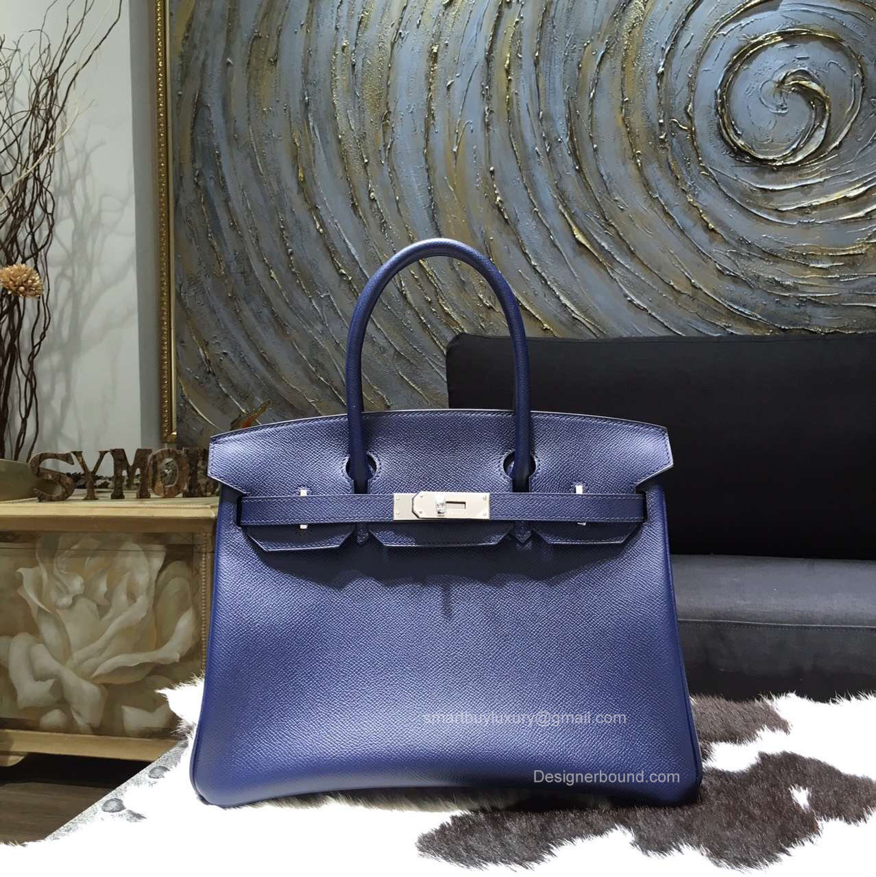 Hermes Birkin 35 Bag Blue Saphir Epsom Leather Handstitched Silver hw