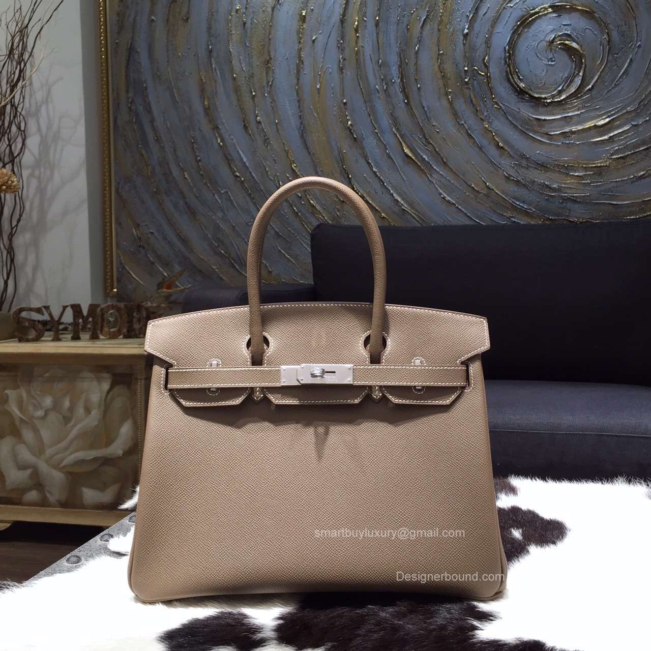 Hermes Birkin 35 Bag Etoupe Epsom Leather Handstitched Silver hw