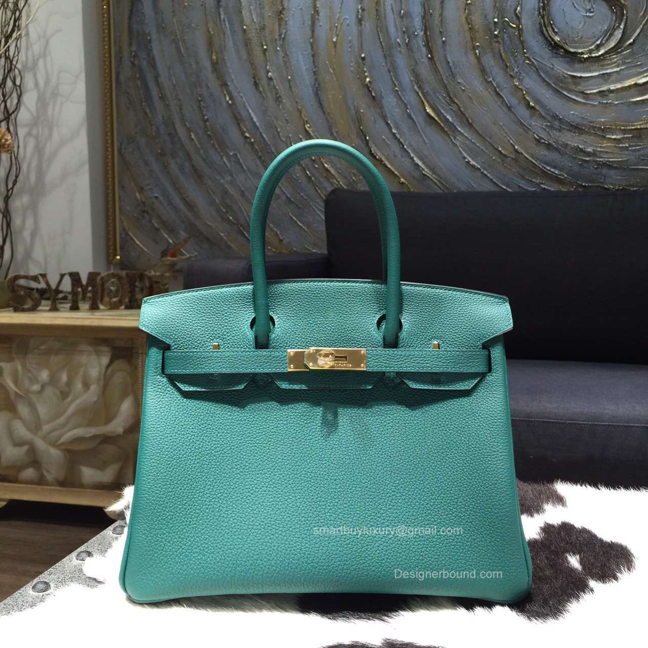 Hermes Birkin 35 Bag Malachite z6 Togo Leather Handstitched Gold hw
