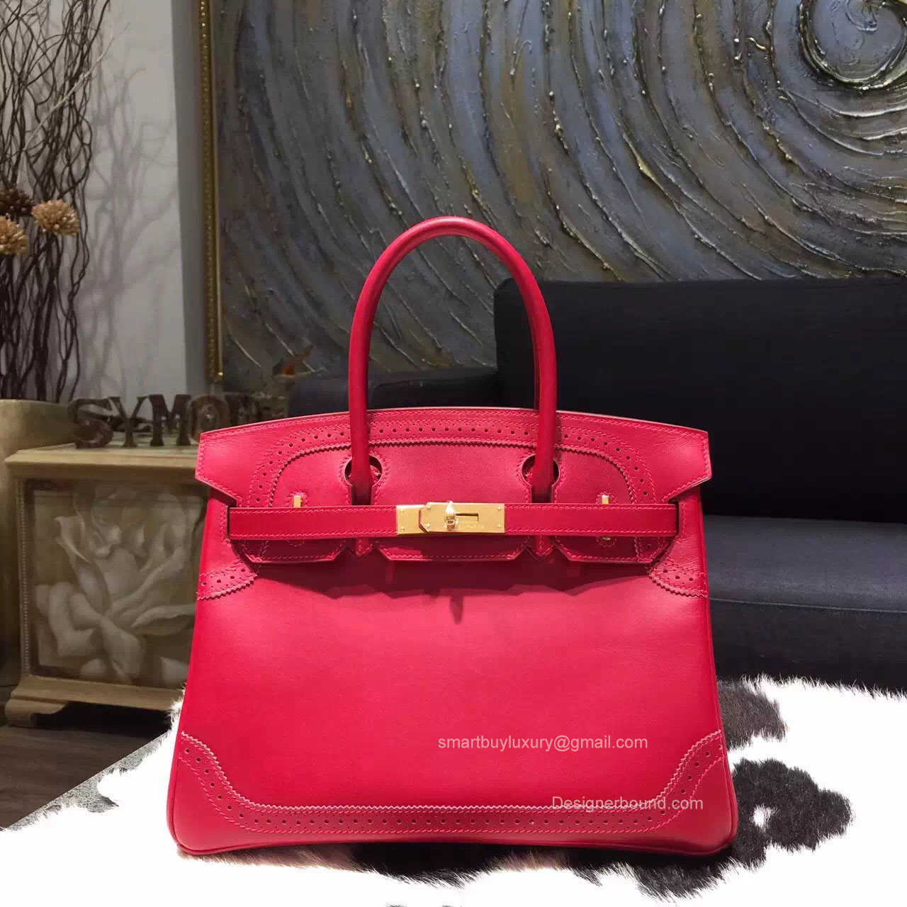 Hermes Birkin 35 Ghillies Ruby Tedelakt Smooth Leather Handstitched Gold hw