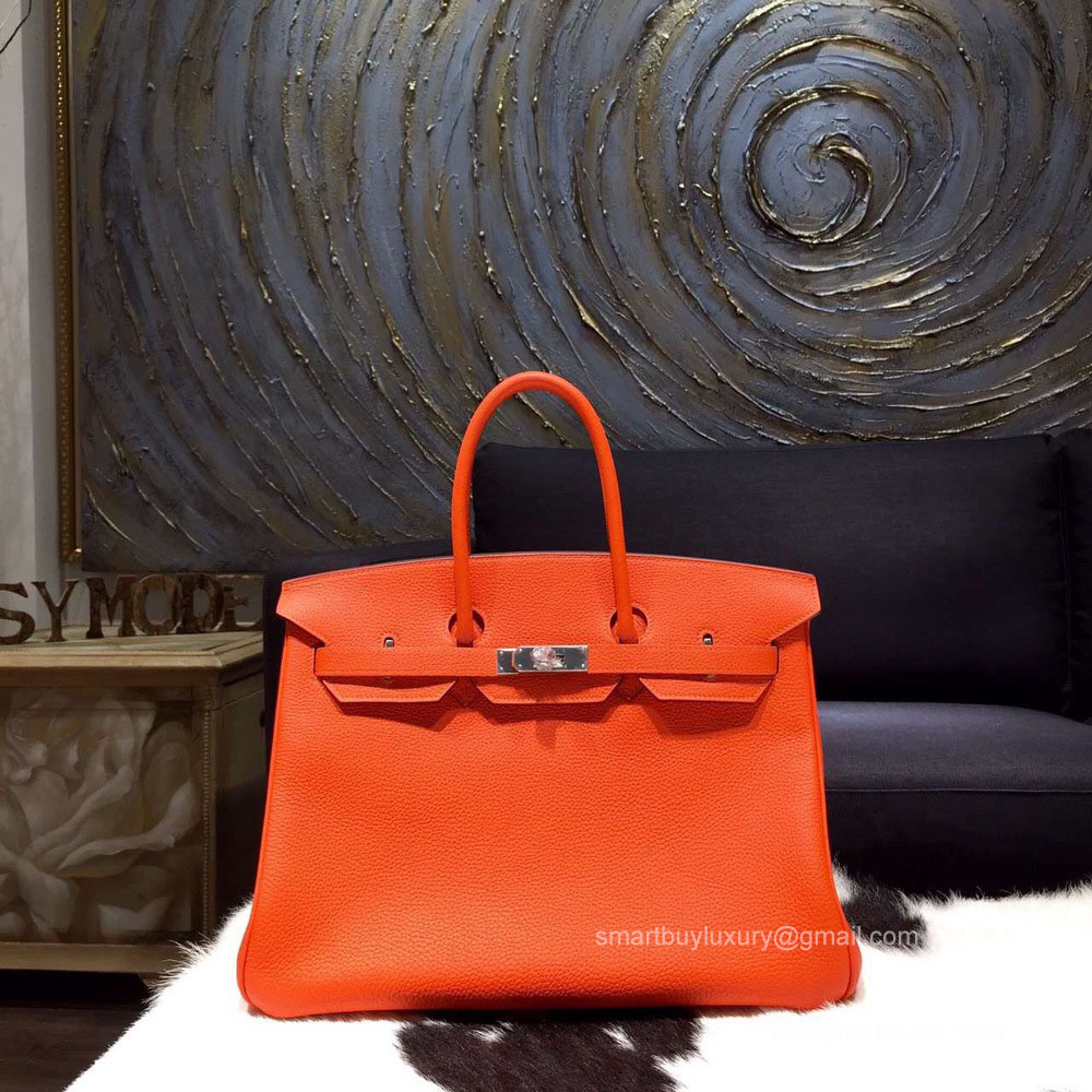 Hermes Birkin 35 cm Togo Bag Orange CK93 Hand Stitched Silver Hw