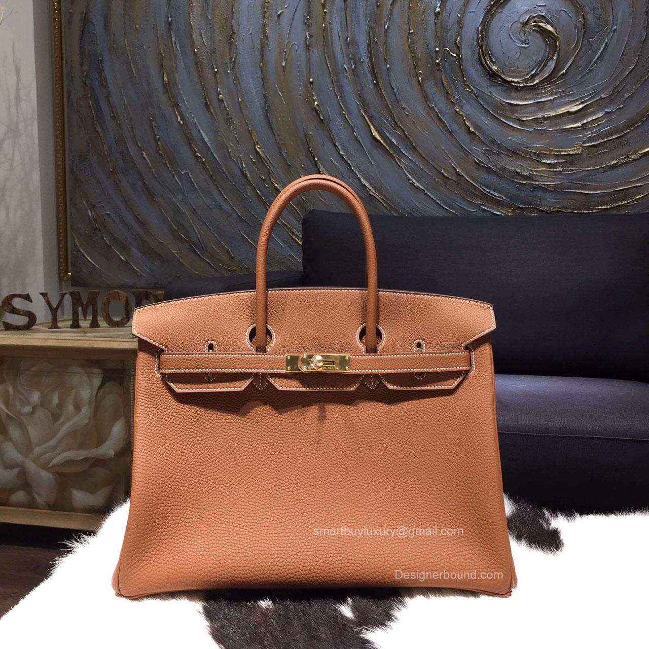 Hermes Birkin 35 cm Togo Bag Gold Handstitched Gold Hw