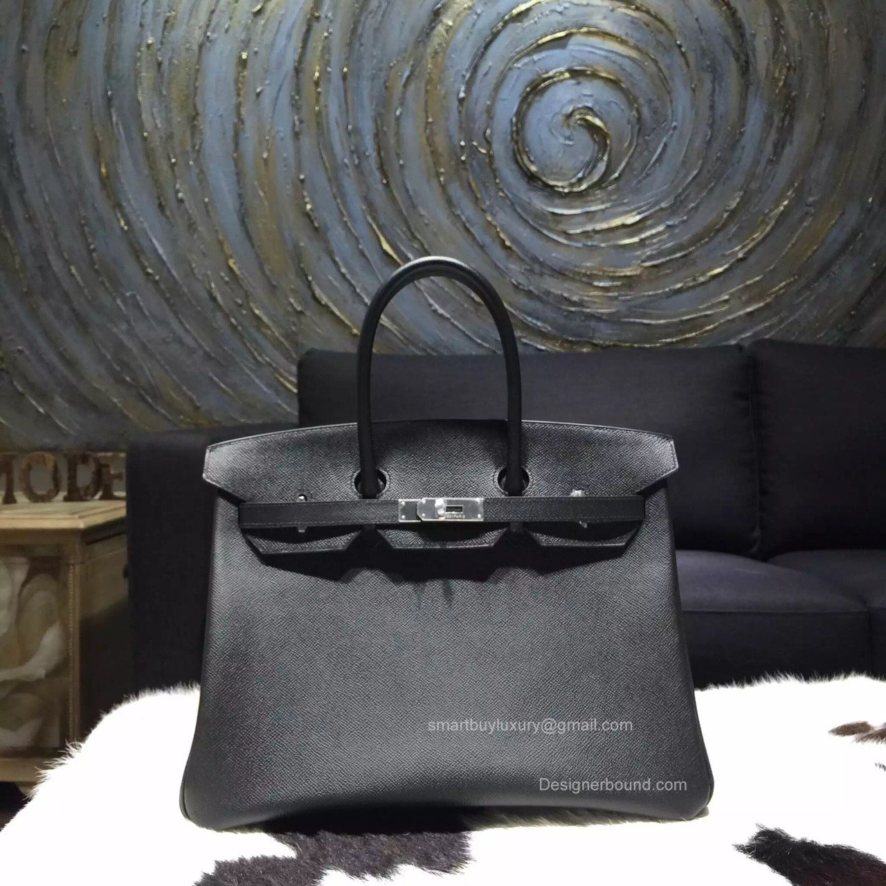 Hermes Birkin 35 cm Black Epsom Leather Bag Handstitched Silver Hw
