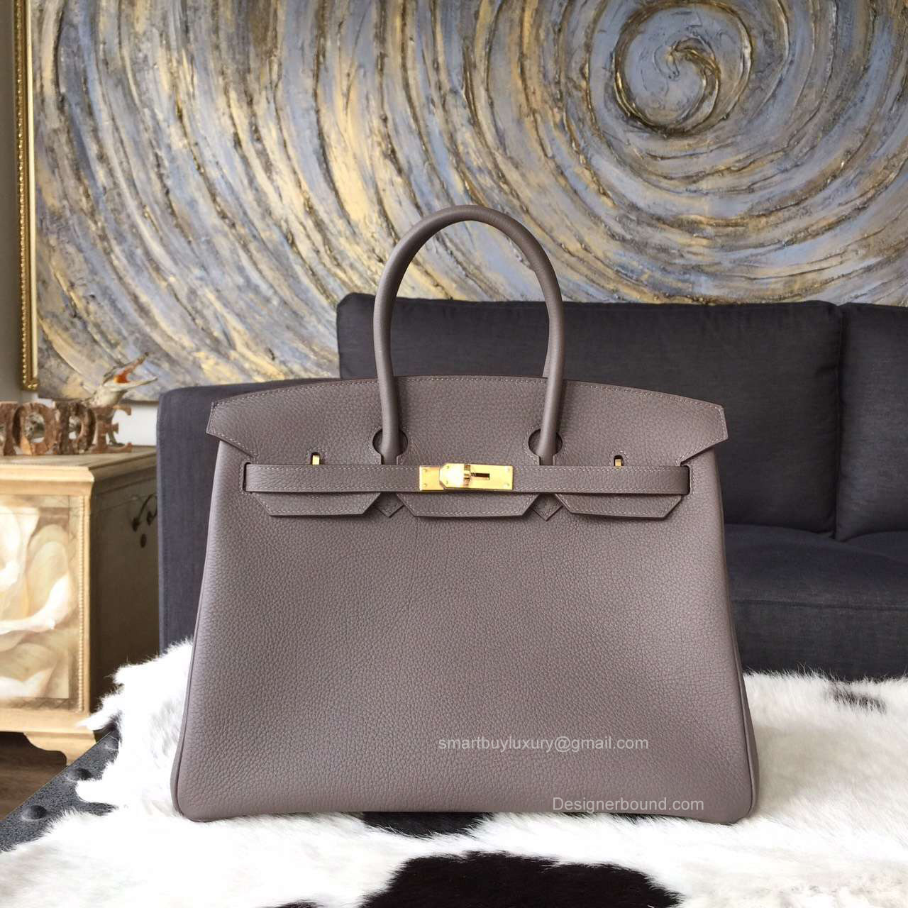 5c8d62b47f2a ... hermes grey etain togo birkin bag- 35 cm size with gold ...