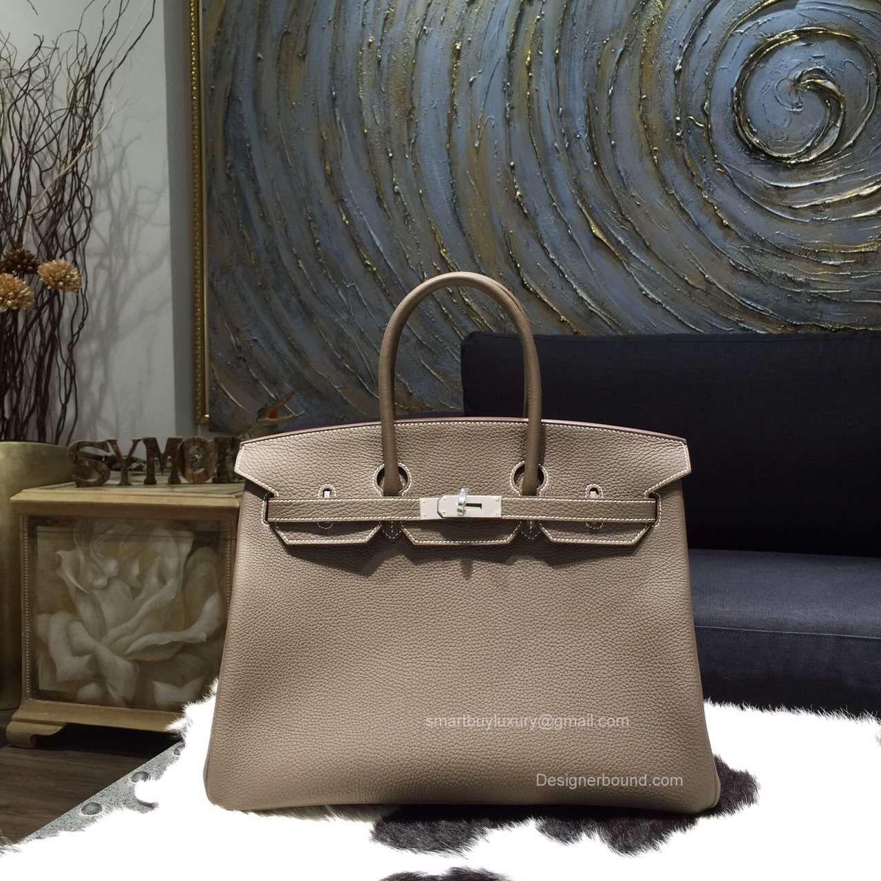 ebcecec073 Hermes Birkin 35 cm Togo Bag Etoupe CK18 Handstitched Silver Hw -