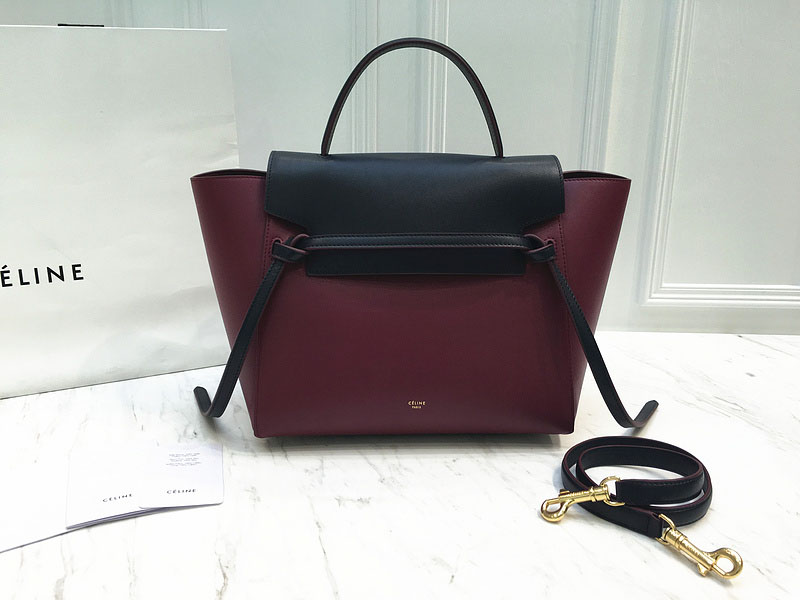 Ultimate Replica Celine Small Belt Bag Multi in Burgundy Calfskin