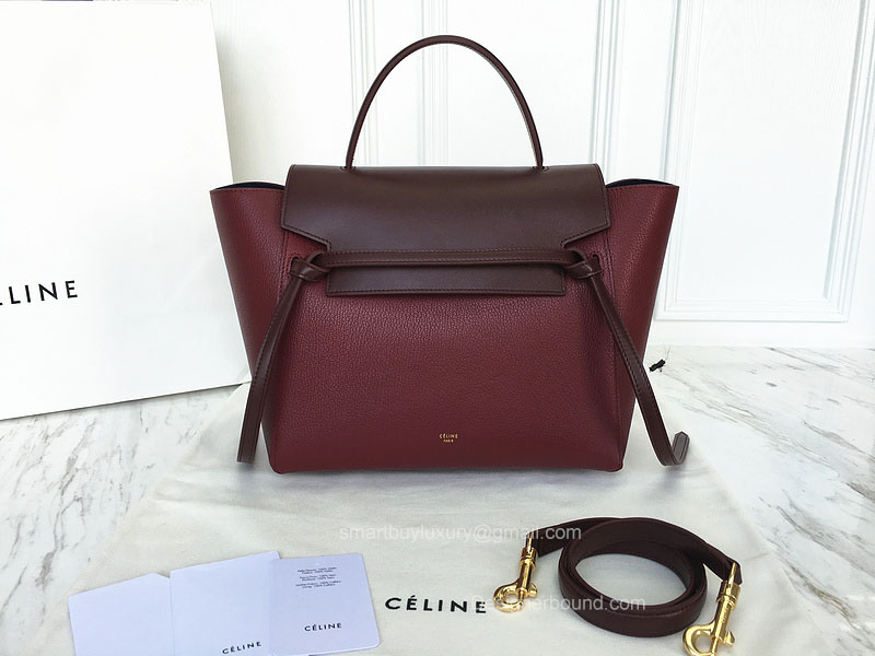 Ultimate Replica Celine Small Belt Bag Multi in Burgundy Goatskin