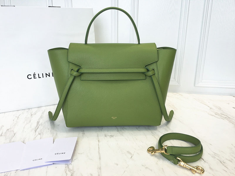 Ultimate Replica Celine Small Belt Bag in Green Baby Grained Calfskin